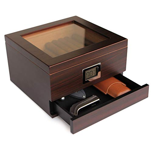 Glass Top Handcrafted Cedar Humidor with Front Digital Hygrometer, Humidifier Gel, and...
