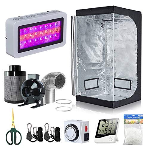 BloomGrow 32''x32''x63'' Grow Tent + 4'' Inline Fan Filter Duct Combo + 300W LED Light +...
