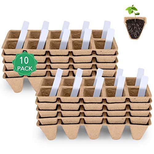 MacCoya Seed Starter Tray, Seedling Starter Peat Pots Kits, Biodegradable Compostable...