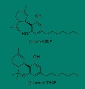 Estructuras moleculares de los cannabinoides CBDP y THCP